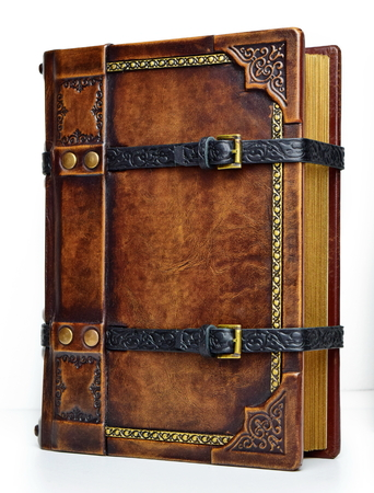 Isolated embossed brown leather book locked with black straps and metal buckles