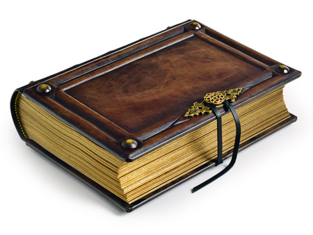 Vintage brown leather book with gilded paper edges, metal clasp and the straps