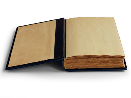 Open book on the first page with yellow aged pages Archivio Fotografico