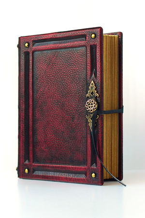 Vintage book bound in red leather