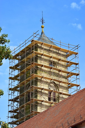 Church tower in reconstruction phase
