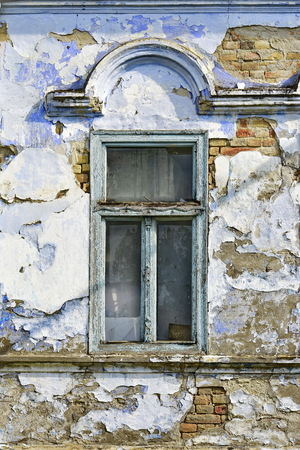 Aged window on the old German house
