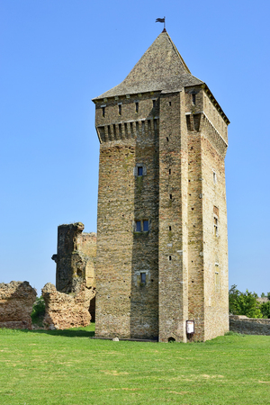 Central tower in the medieval fortress from the 14th century made by Kingdom of Hungary, today located in Vojvodina, Serbia. Captured from the West side.