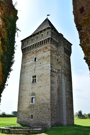 Central tower in the medieval fortress from the 14th century made by Kingdom of Hungary, today located in Vojvodina, Serbia. Captured from the East side.