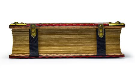 Closed and locked red leather book with gilded paper edges captured isolated and from the front side while lay down to the table.