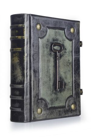 Leather book with the key fitted to the center of the front cover