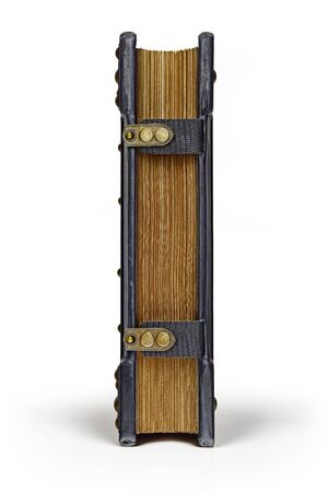 Vintage blue leather book with the straps and gilded paper edges