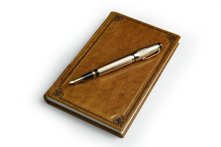 Light brown leather journal with the posted golden fountain pen over the book cover
