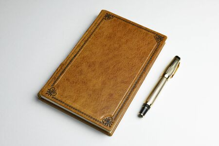 Light brown leather journal with the golden fountain pen on the side