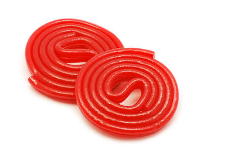 red spiral jellies isolated on white background