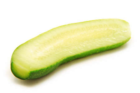 Half cucumber isolated on white photo