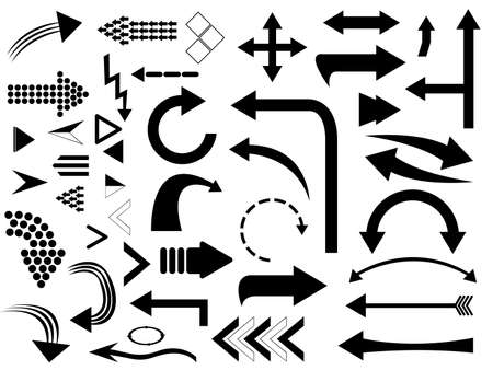 Set of arrows illustrated on white
