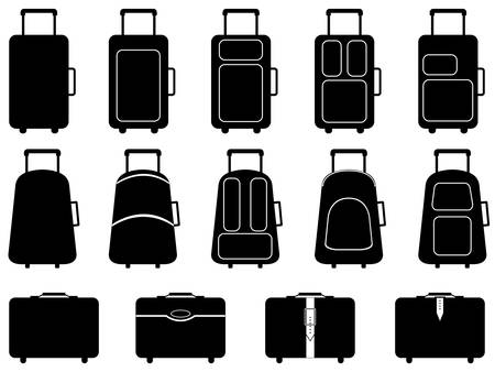 Set of different luggage illustrated on white Stock Illustratie