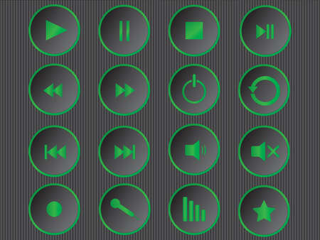 Set of cool green multimedia buttons illustration  Vector