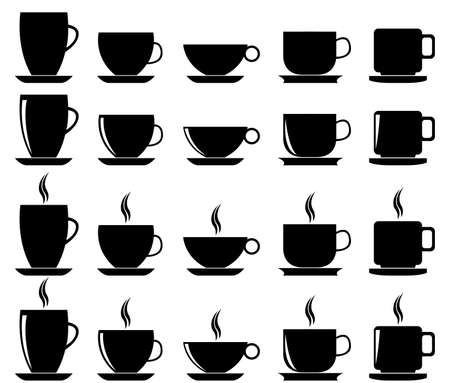 Set of coffee and tea cups illustrated on white Ilustrace