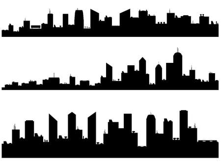 City Silhouettes illustrated on white Stock Illustratie