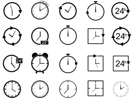 round face: Set of clocks illustrated on white background