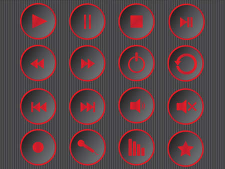 Set of cool red multimedia buttons illustration  Vector