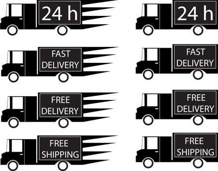 Set of delivery trucks illustrated on white Vector