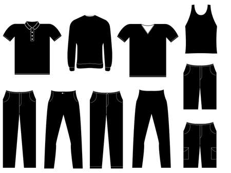 Set of cloths illustrated on white Vector