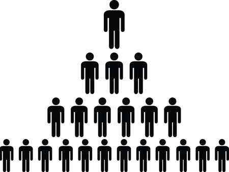 Human pictogram pyramid illustrated on white Vector