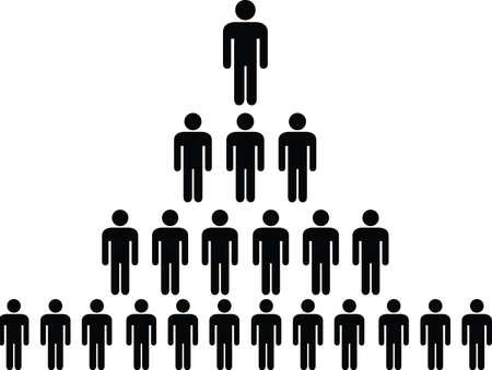 stick people: Human pictogram pyramid illustrated on white Illustration
