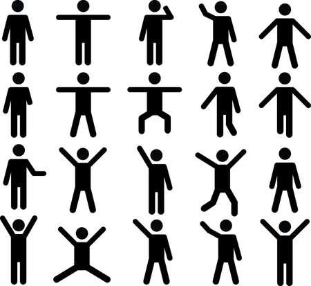 Set di pittogrammi umani attivi illustrati su sfondo bianco Vettoriali