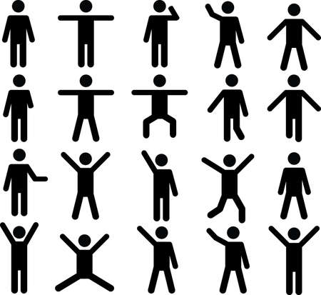 Set of active human pictograms illustrated on white background Ilustração