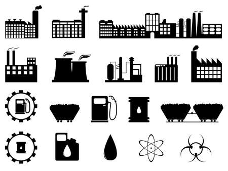Set of industry buildings and signs illustrated on white Stock Vector - 22561964