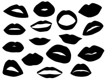 labios sexy: Conjunto de labios ilustrados en blanco