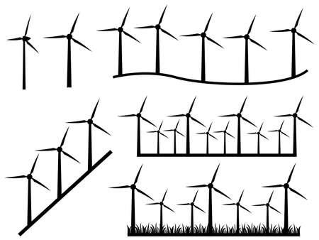 converter: Illustration of black windmills on white background
