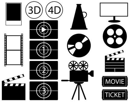 pg: Set of movie and cinema elements illustrated on white  Illustration