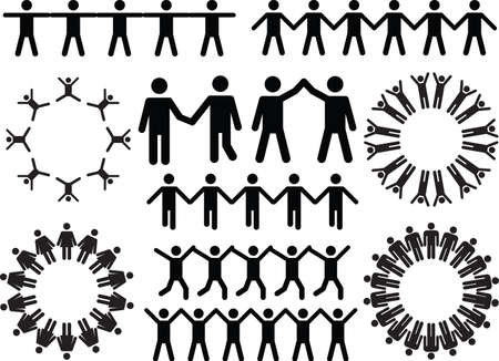 Set of people doing stuff illustrated on white background Vector
