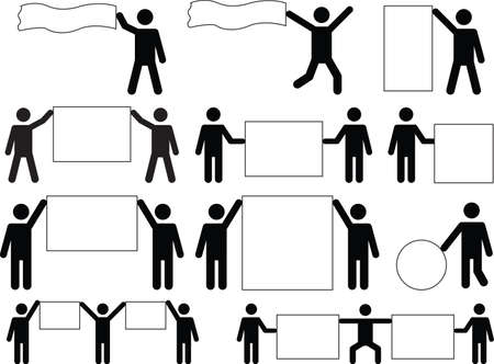 Set of man pictograms holding different blank banners Vector