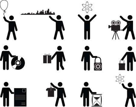 Set of people holding stuff illustrated on white Vector