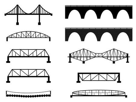 draw bridge: Set of bridge illustrated on white