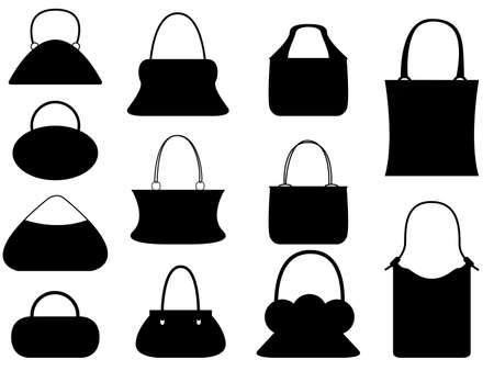 Set of female purses illustrated on white Vector