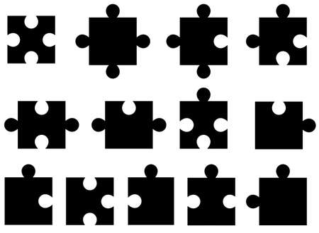 shiny black: Set of puzzle pieces illustrated on white background Illustration