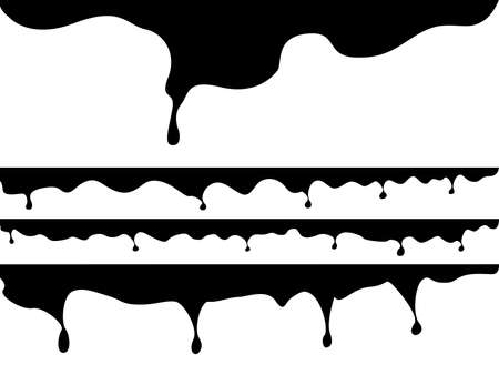 Set of black seamless drips illustrated on white Vector