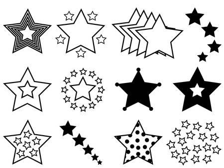 Set of stars illustrated on white background Illustration