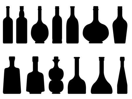 wine bottle: Set of bottles illustrated on white background
