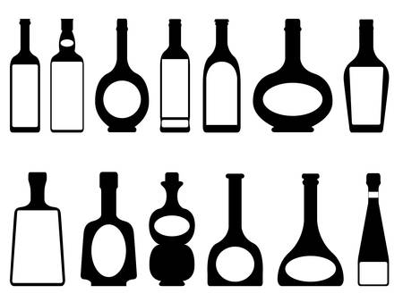 botella de whisky: Conjunto de botellas ilustradas sobre fondo blanco