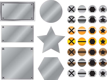 Metal background with screws illustrated on white