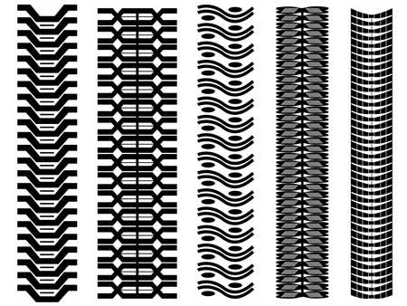 Set of tire tracks illustrated on white Vector