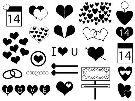 Valentine s day hearts illustration  Vector