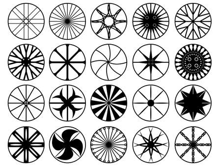 Set of wheel rims illustrated on white Vector