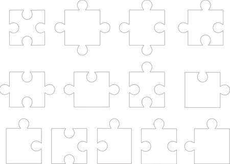 Set of puzzle pieces illustrated on white background Vector