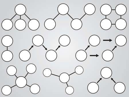 témata: Bílé témata diagram ilustruje na šedém pozadí Ilustrace