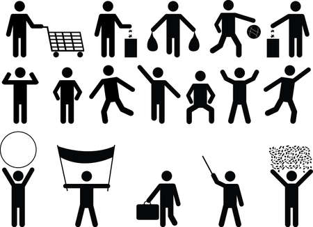 high spirits: Human pictograms with different objects and activity