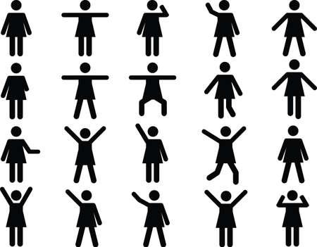 mujer: Conjunto de pictogramas mujer activa ilustrados en el fondo blanco